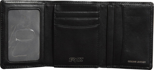 Leather Trifold Wallet Black